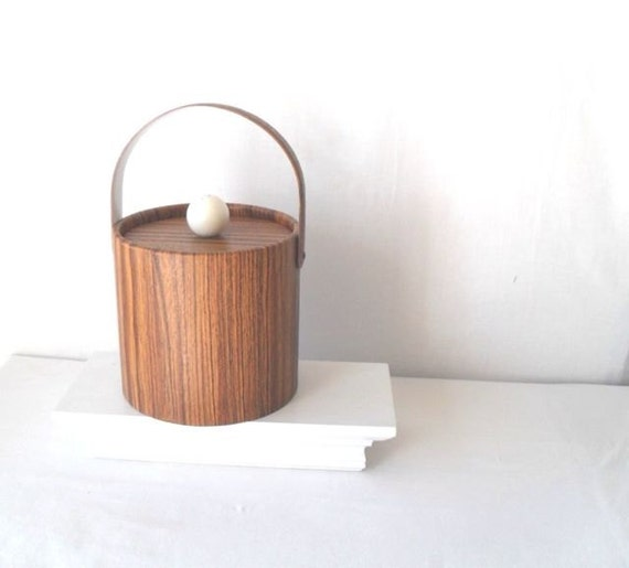 RESERVED Vintage Ice Bucket Faux Bois Woodgrain barware mad men