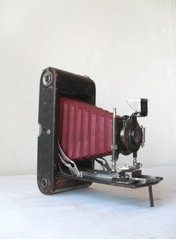 Antique Folding Camera Kodak 3A Red Bellows