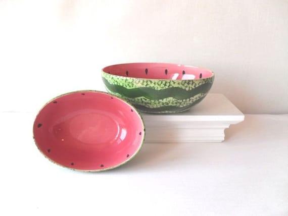 Vintage Watermelon Serving Bowls