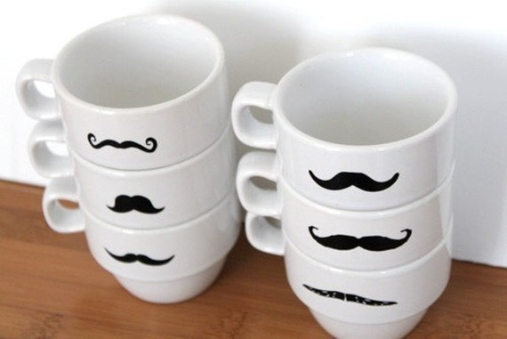 LAST ONE  Upcycled Modern Stacking Mustache Espresso Mugs - White