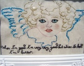 RERSERVED FOR STEPH Hand embroidered  art piece 'Angel\/Cherub'
