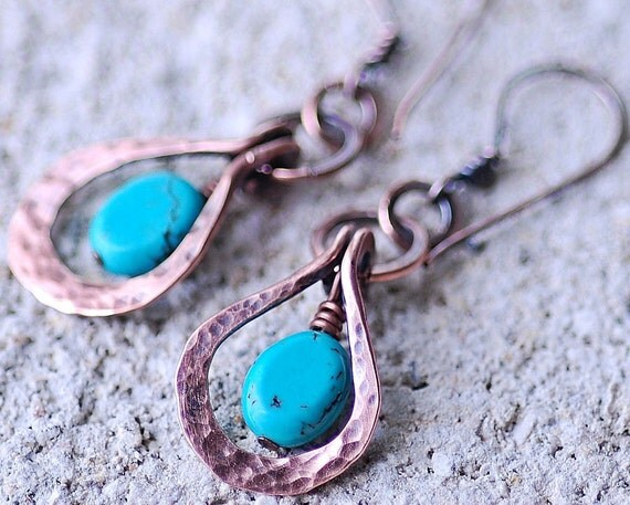 Wire Wrapped Copper Turquoise Earrings