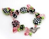 Handmade Lampwork Bracelet, Sterling Silver, Black Pink Green  Valentine Beaded Jewelry 'Heart's Desire'