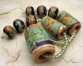 SRA Handmade Lampwork Glass Beads, Peyote or Kumihimo Set with Focal, Bead Cones and Accent Beads