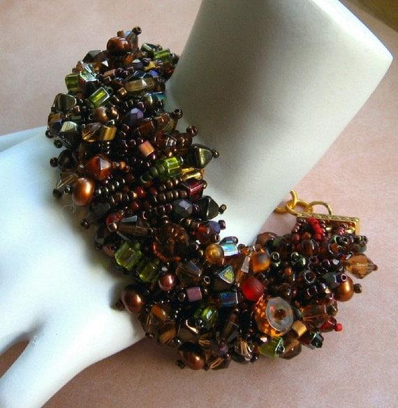 Beadwork Bracelet in Browns, Rust, Earthtones, Beadweaving Bead Embroidery ' Ice Tea'
