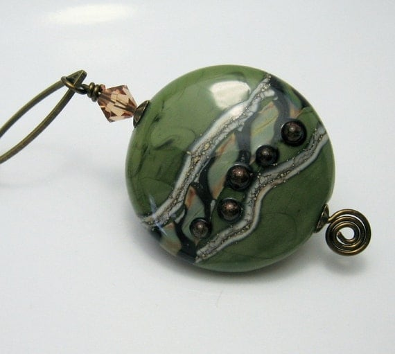 Lampwork Necklace Antique Brass Chain Necklace Earrings Set Olive Green  'Forest Garden'