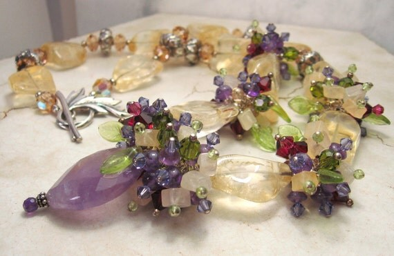 Chunky Gemstone Statement Necklace Citrine Amethyst Peridot Sterling Silver Beaded Jewelry  'Sumptuous'