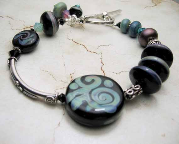 Black Lampwork Bracelet - Sterling Silver Swarovski Crystals beaded Jewelry  'Summer Batik'