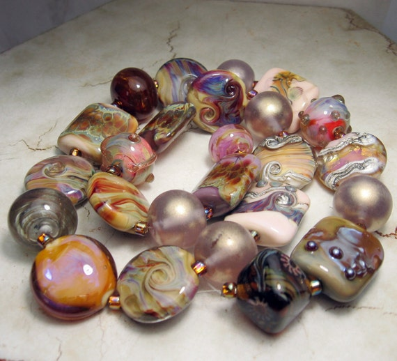Handmade Lampwork Glass Beads,  Artist's Collection in Pink, Lavender, Amber, Golds