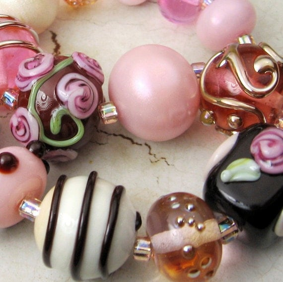 Handmade Lampwork Glass Beads, Romantic Set in Pink, Brown, Ivory, Chocolatier