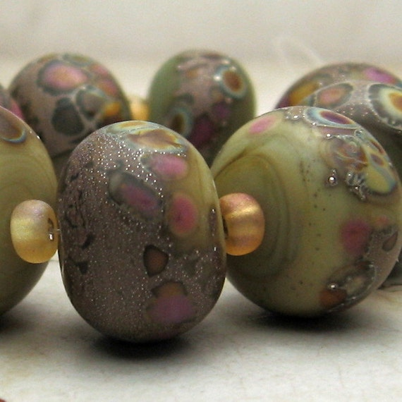 SRA Lampwork Glass Bead Set Sage Green Earth Tones Etched Matte Jewelry Supplies 'Herb Mix'