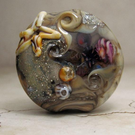 SRA Handmade Lampwork Glass Bead, Organic Focal Lentil Bead,Ocean, Beach, Tidepools
