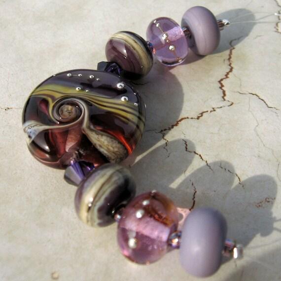 Handmade Lampwork Glass Beads, Mini Set in Lavender and Purple
