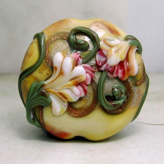 Reserved for Eileen.....Handmade Lampwork Glass Bead, Lentil Focal with Pink Flowers, Victorian Garden