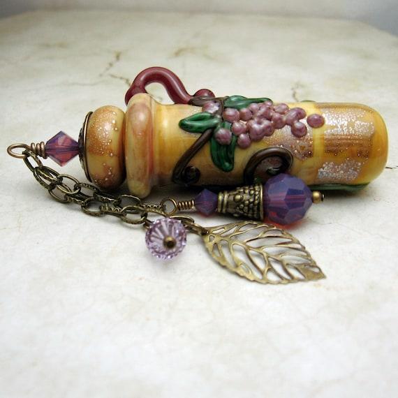 Lampwork Glass Vessel Purple Grapes Aromatherapy  Amphora Jar Cork Lid  Perfume Jar Swarovski Crystals