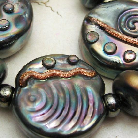 Handmade Lampwork Glass Bead Set of 7 Steampunk Metallic Black 'Urban Art'