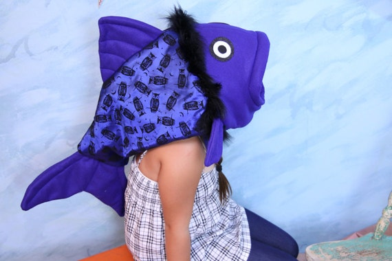 Blue Owl print fish Costume-one size fits all