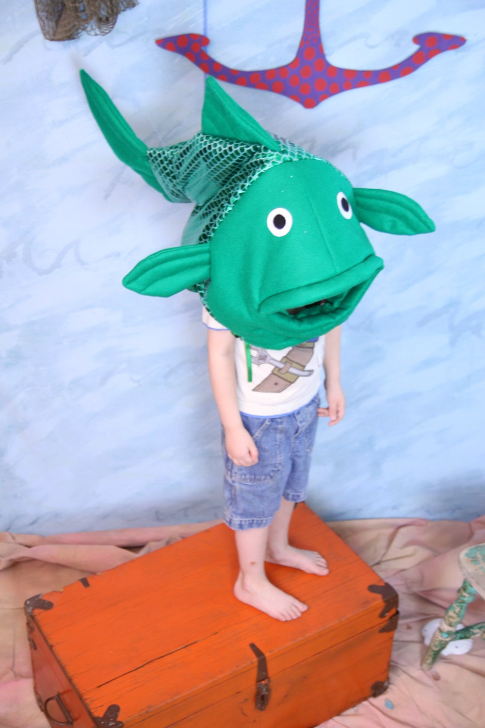 Green fish costume one size fits all for Fish head costume