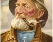 "Fisherman, Man w Pipe, Lobsterman Mariner Old Man in the Sea Vintage Art Litho 8"" x 10""ALTER SEER Western Germany HAERENDEL Artist"