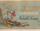 vintage Antique Victorian Needle Pack Fifth Avenue Queen Royal gold gilded lettering LITHO