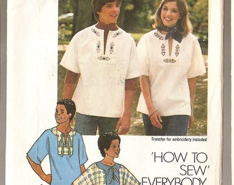 "vintage Pullover blouse shirt top sewing pattern men women Simplicity 7611 Everybody MEDIUM 35 - 36"" chest Unisex clothing hippie top 1976"