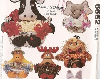 """BASKET sewing pattern McCalls 6662 Seasons Scarecrow Halloween Reindeer Duck Cow basket Elephant Bunny Holiday Baskets Centerpieces 12"""""""