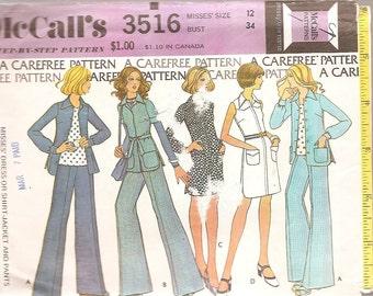 miss sewing pattern Dress, wide leg pants, jacket, shirt dress, sewing pattern  McCalls size 12 bust 34 printed 1973