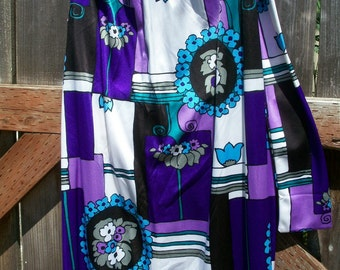Fabulous DRESS Beautiful colors condition DRESS long 1970 Peter Max Pucci style purple teal black sleeveless Mid century modern 70's bust 40