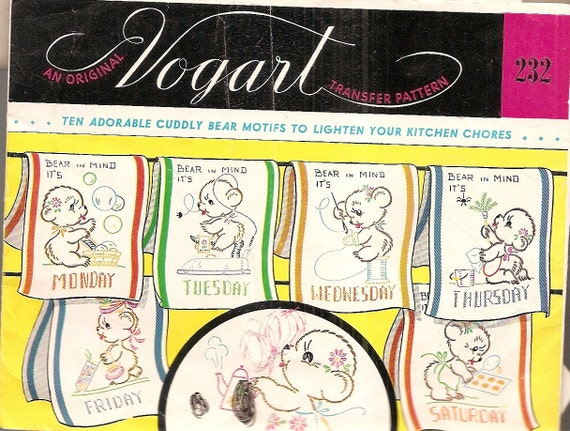 Vintage, VOGART 232  BEARS Days of Week DOW Towel embellishments to embroider