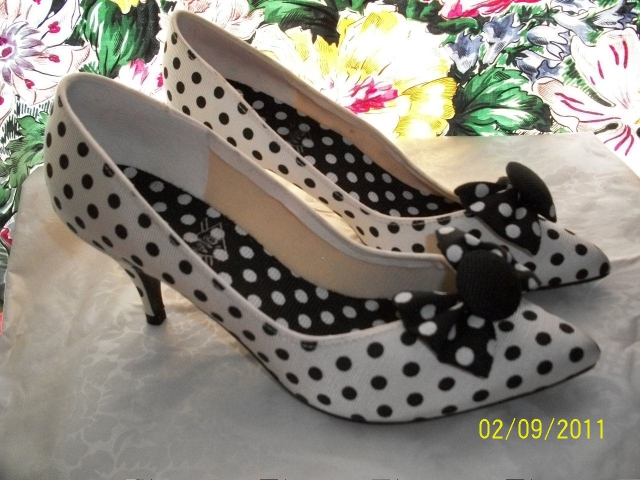Shoes Polka Dot Black White 3 Inch Heels Fabric By