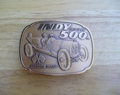 Indy 500 Commemorative Belt Buckle 75th Anniversary 1911-1986 Marmon Wasp Antique Racecar Bronze Finish Indianapolis