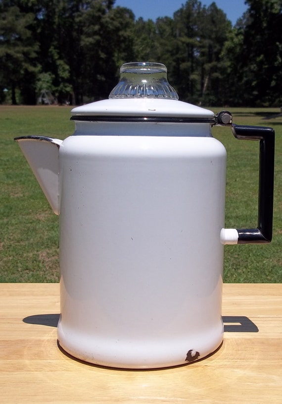 Fab Enamel Coffee Pot Boiler white with black trim coffeepot granite graniteware enamelware