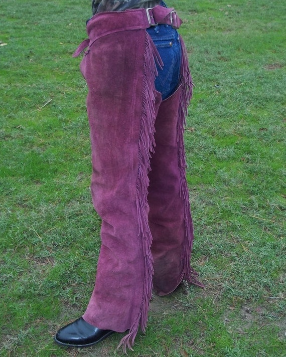 Purple Suede Chaps with Fringe Genuine Leather Horseback Riding Attire Medium Frame Unisex Mens or Womens