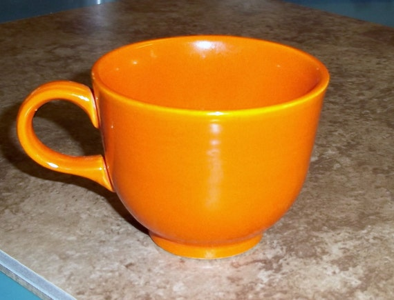Fiesta Ironstone Red Cup by HLC Homer Laughlin Co 1969 to 1972 Fiestaware Teacup Orange Color Pop