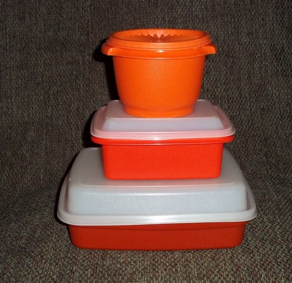 Retro Orange Tupperware 3 Assorted Storage Container Bowls with lids 1970s