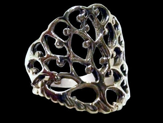 925 Sterling Silver Tree of life ring - powerful wisdom protection charm