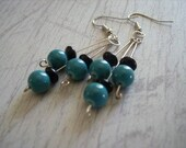 Earrings- Turquoise and black dangle entitled No Second Fiddle