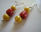 Earrings- Red and Yellow Bead Dangle Entitled Howling Woman