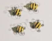 Four Charming Wire Bumble Bee Magnets