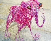 Pink Wire Elephant Sculpture