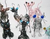 Custom Memorial Cat Portrait, Made to Order Pet Figurine Keepsake,  Beloved Pet Cat  Gift, Whimsical Wire Art Sculpture