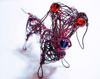 Pet Loss Gift, Custom Pet Portrait Dog, Beloved Dog Keepsake, Dog Ornament, Desk Decor, Home Decor, Metal Dog, Wire Animal Sculpture