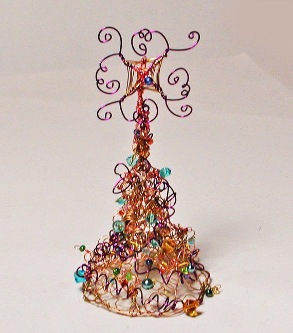 Gold And Copper Wire Christmas Tree With Deep Purple Accents