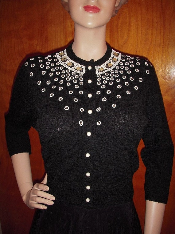 SALE Glamourous 50s PIN UP Sweater Loaded with Beads and Rhinestones