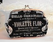 French Black and White Clutch Purse Violette