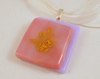 Pink Grassy Glass Pendant