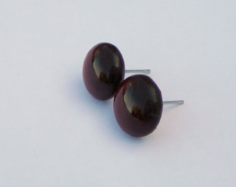Transparent Deep Red Silver Plated Glass Studs (41)
