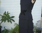 Vintage 1960's Little Black Dress With Tiered Skirt And Velvet Bow At Front -  Size Small / Medium