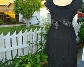 Vintage 60's Lolita Little Black Pleated Dress With Tiered Skirt And Satin Bow -  Size Small / Medium