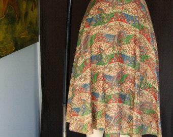 Vintage 1950s India Inspired Paisley Tea Length Circle Skirt - Size  Medium